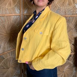 VTG 80s Yellow Linen Cool Linen Cropped Coat